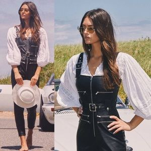 NWT WeWoreWhat Faux Leather Overalls